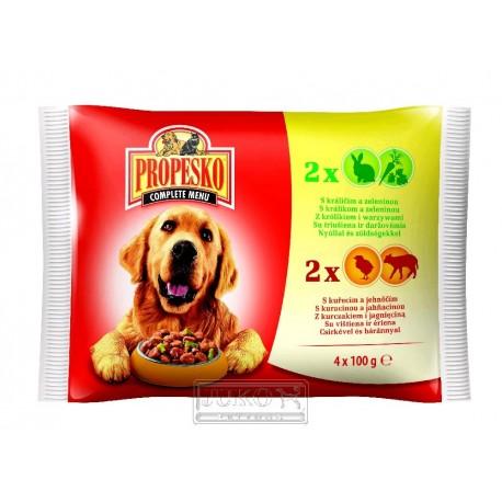 PROPESKO KAPSA DOG 4-pack král.+mrkev+ kuře+jehně 100g-9178