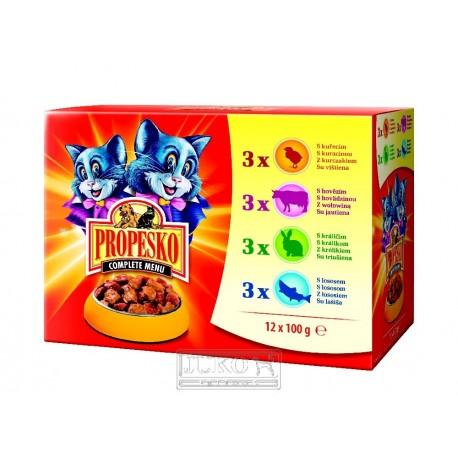 PROPESKO Cat hovězí, kuřecí, králičí a losos, kapsa 100 g (pack 12 ks)