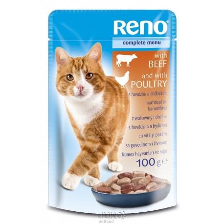 RENO Cat hovězí a drůbeží, kapsa 100 g