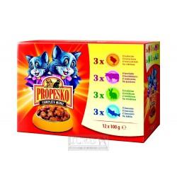 PROPESKO Cat hovězí, kuřecí, jehněčí a zvěřina, kapsa 100 g (pack 12 ks)