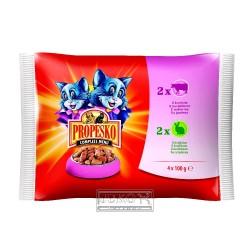 PROPESKO Cat hovězí a králičí, kapsa 100 g (pack 4 ks)