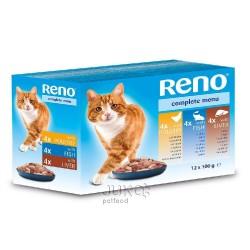 RENO Cat drůbeží, rybí a játra, kapsa 100 g (pack 12 ks)