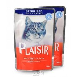 Plaisir Cat kapsička 100g STERILISED hovězí v želé-13670