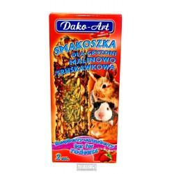 Tyčinka s malinami a jahodami hlodavec Dako (2 ks)