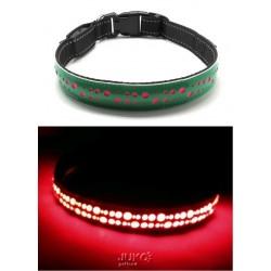 Svítící LED obojek plochý-S-2,5x40cm-ZELENÁ-13392