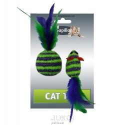 Myš a míček s peřím zeleno-fialová pruhy třpyt