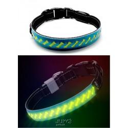 Svítící LED obojek plochý-M-2,5x50cm-MODRÁ-13393