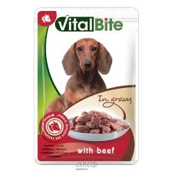 VitalBite kapsa pes s hovězím ve šťávě 85g-12762