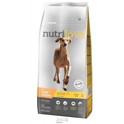 Nutrilove pes granule ACTIVE fresh kuřecí 12kg-13205 + 2 konzervy paté ZDARMA