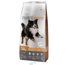 Nutrilove pes granule ADULT Large fresh kuřecí 12kg-13201 + 2 konzervy paté ZDARMA