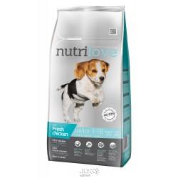 Nutrilove pes granule JUNIOR Small&Medium fresh kuřecí 8kg-13193 + 1 konzerva paté ZDARMA