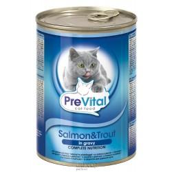 PreVital kousky kočka losos+pstruh v omáčce 415g-12760