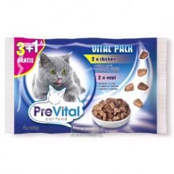 PreVital kočka kuře a telecí, kapsa 100 g (pack 4 ks)