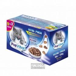 PreVital kočka kuřecí, telecí a losos, kapsa 100 g (pack 12 ks)