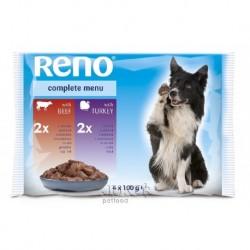 RENO Dog hovězí a krůta, kapsa 100 g (pack 4 ks)