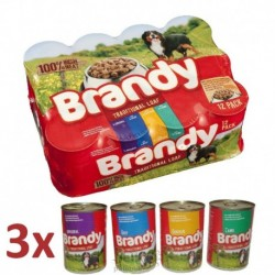 Brandy Dog Variety Chunks 4 druhy, konzerva 395 g (pack 12 ks)