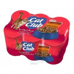 Cat Club kousky v omáčce 3 druhy, konzerva 400 g (pack 6 ks)