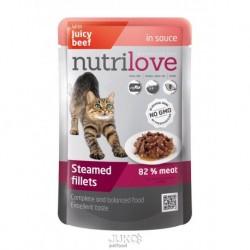 Nutrilove kočka kapsička, šťáva hovězí 85g-13186