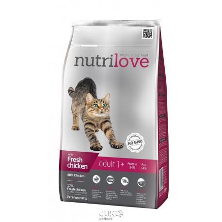 Nutrilove kočka Adult fresh kuřecí, granule 1,5 kg
