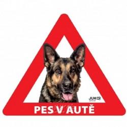 samolepka-Pes v autě-sklo ze vnitř- NĚMECKÝ OVČÁK-13617