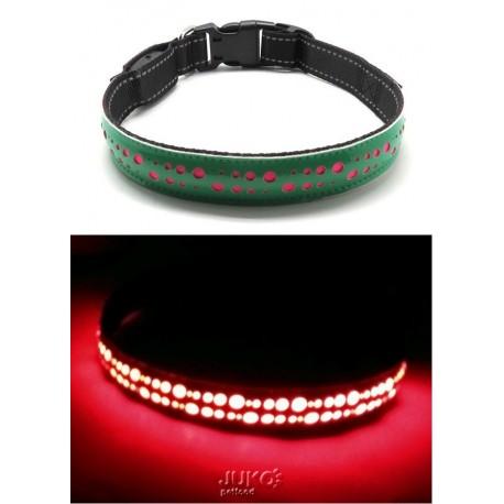 Svítící LED obojek plochý S černá