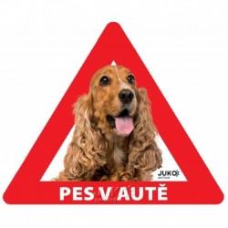 samolepka-Pes v autě venkovní-KOKRŠPANĚL-13896