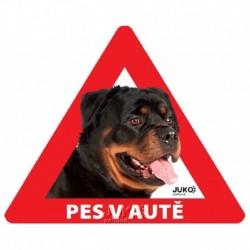 samolepka-Pes v autě venkovní-ROTVAJLER-13901