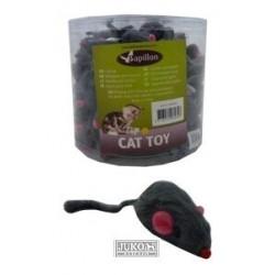 Myš s kožešinou šedá chrastící 5 cm