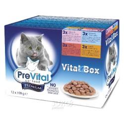 PreVital kapsa kočka 12-pack100g-4 příchutě v želé