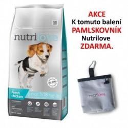 Nutrilove pes granule JUNIOR Small&Medium fresh kuřecí 8kg+PAMLSKOVNIK-14837