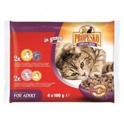 PROPESKO Cat kuřecí/játra a jehněčí/kuřecí, kapsa 100 g (pack 4 ks)