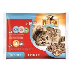 PROPESKO Cat kuřecí a losos, kapsa 100 g (pack 4 ks)