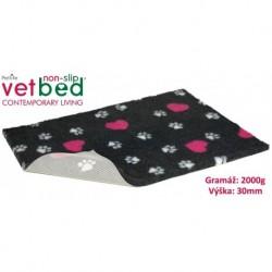 Vetbed protiskluz/Drybed Grafit+Růžové Srdce 100x75cm 2000g,30mm-14854