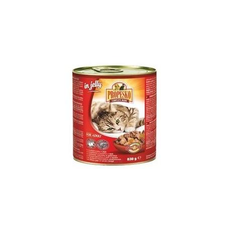 PROPESKO Cat hovězí a játra v želé, konzerva 830 g