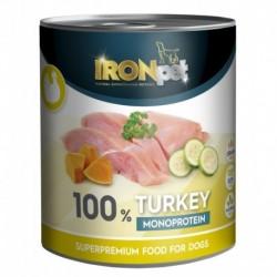 IRONpet Dog Turkey (Krůta) 100 % Monoprotein, konzerva 800 g