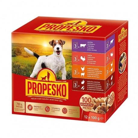 PROPESKO Dog kuřecí/jehněčí, krůta, králík s mrkví, kapsa 100 g (pack 12 ks)