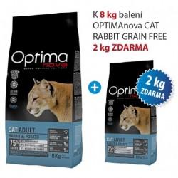 OPTIMAnova Cat Rabbit & Potato GF 8 kg AKCE 8 kg + 2 kg ZDARMA
