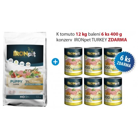 IRONpet TURKEY Puppy Large 12kg+konzerva IRONpet 6ks-ZDARMA-15580