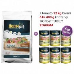 IRONpet TURKEY Large & Giant Adult 12kg+6ks Konzerv Zdarma-15670