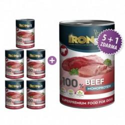 IRONpet Dog Beef (Hovězí) 100 % Monoprotein, konzerva 400 g AKCE 6 + 2 ZDARMA