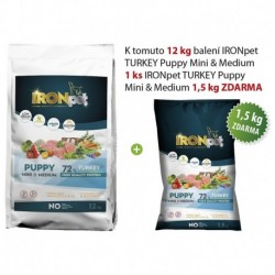 IRONpet TURKEY Puppy Mini & Medium 12kg+1,5kg Zdarma-15503