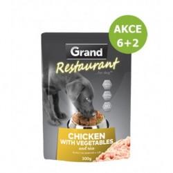Grand deluxe Restaurant Kuřecí na zelenině kapsy pro psy 300 g AKCE 6+2