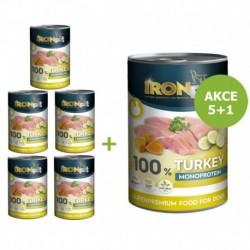 IRONpet Dog Turkey (Krůta) 100 % Monoprotein, konzerva 400 g AKCE 6 + 2 ZDARMA