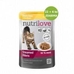 Nutrilove kočka kuřecí ve šťávě, kapsička (85 g) 22 + 6 ks ZDARMA