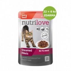 Nutrilove kočka hovězí ve šťávě, kapsička (85 g) 22 + 6 ks ZDARMA