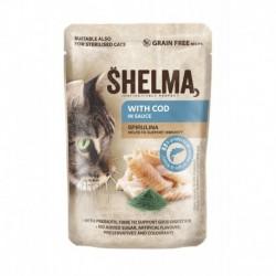 SHELMA Cat treska se spirulinou v omáčce, kapsa 85 g
