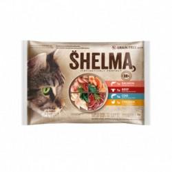 SHELMA Cat kuřecí, hovězí, losos a treska, kapsa 85 g (4 ks)