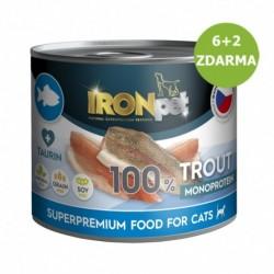 IRONpet Cat Trout (Pstruh) 100 % Monoprotein, konzerva 200 g, AKCE 6 + 2 ZDARMA