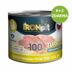 IRONpet Cat Turkey (Krůtí) 100% Monoprotein, konzerva 200 g AKCE 6 + 2 ZDARMA