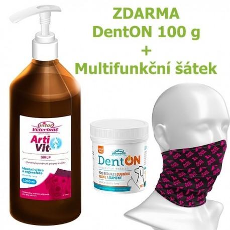 Vitar veterinae Artivit sirup s pumpičkou 1000 ml DÁREK DENTON 100 g a Multifunkční šátek Vitar